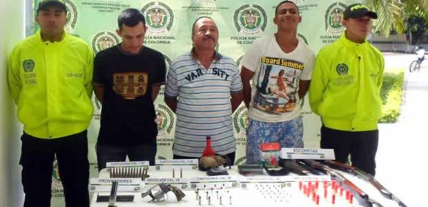 En allanamiento capturadas tres personas e incautado armamento en Cartago