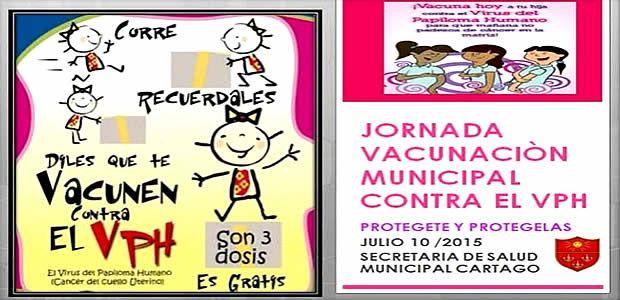 Secretaría de Salud de Cartago adelantará jornada  de vacunación contra virus del papiloma humano