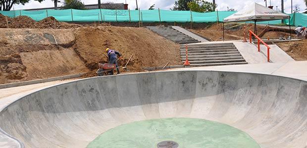 Obras del parque de patinaje en Pereira generan empleo directo para 70 personas