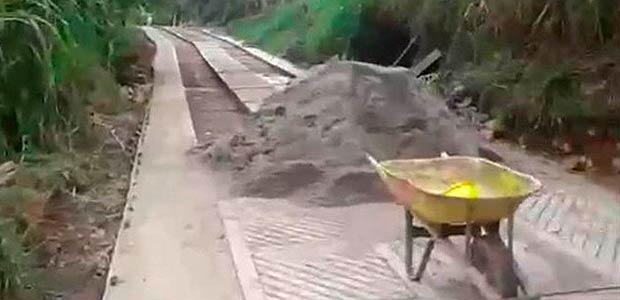 Obras de placa huella se construye sin contratiempos en La Buitrera, Palmira