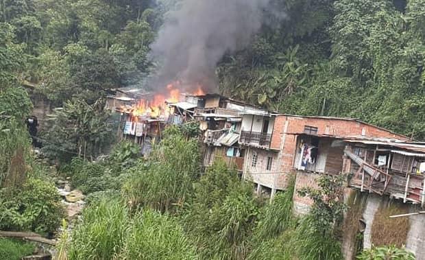 Tres viviendas incineradas en el barrio La Paz de Manizales