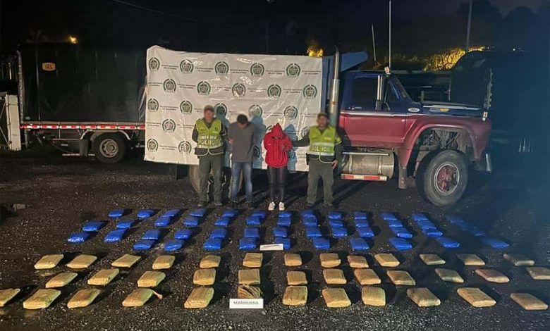 En la vía Cartago – Pereira, incautaron más de 60 kilos de marihuana