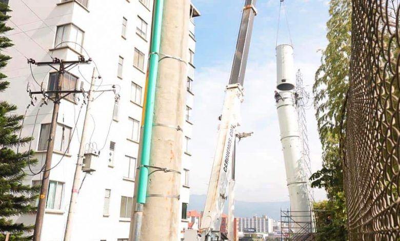 Instalan la última pilona del Megacable en Pereira