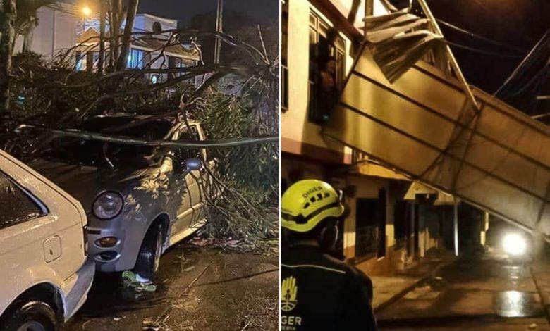Emergencias por fuerte vendaval en Pereira y Dosquebradas