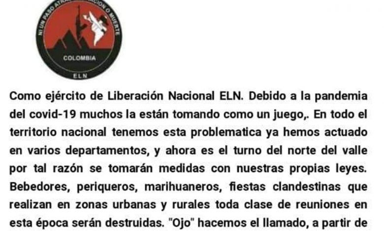 Con panfleto, amenazan a poblaciones de más de siete municipios del norte del Valle