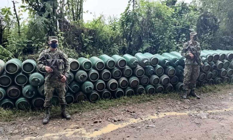 Incautan cilindros de gas en el norte del Valle que presuntamente pertenecían a grupo armado