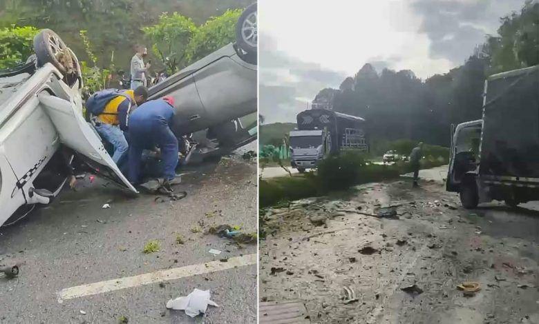 Tres vehículos involucrados en accidente sobre la vía Armenia – Pereira