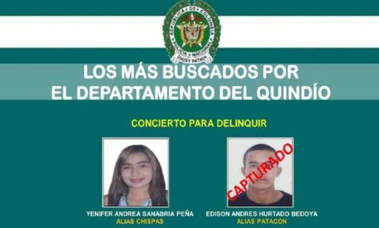Alias 'Chispas', una mujer dentro del cartel de los delincuentes más buscados del Quindío